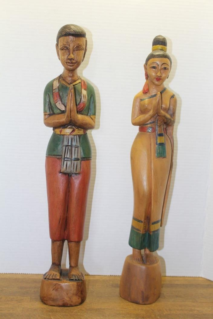 Vintage Hand Carved Wood Statue of Asian Couple Giving Blessing/Good Fortune