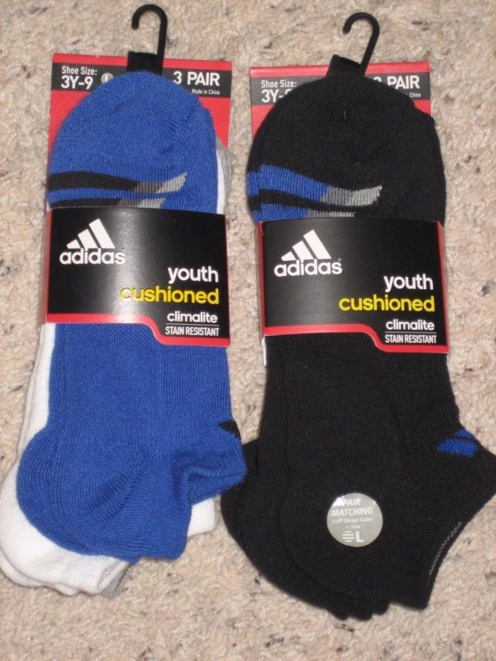 Adidas Youth Boys Cushioned No Show Socks Climalite ~~6 Pairs~~