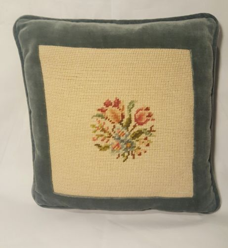 Vintage Needlepoint and velvet Floral Pillow