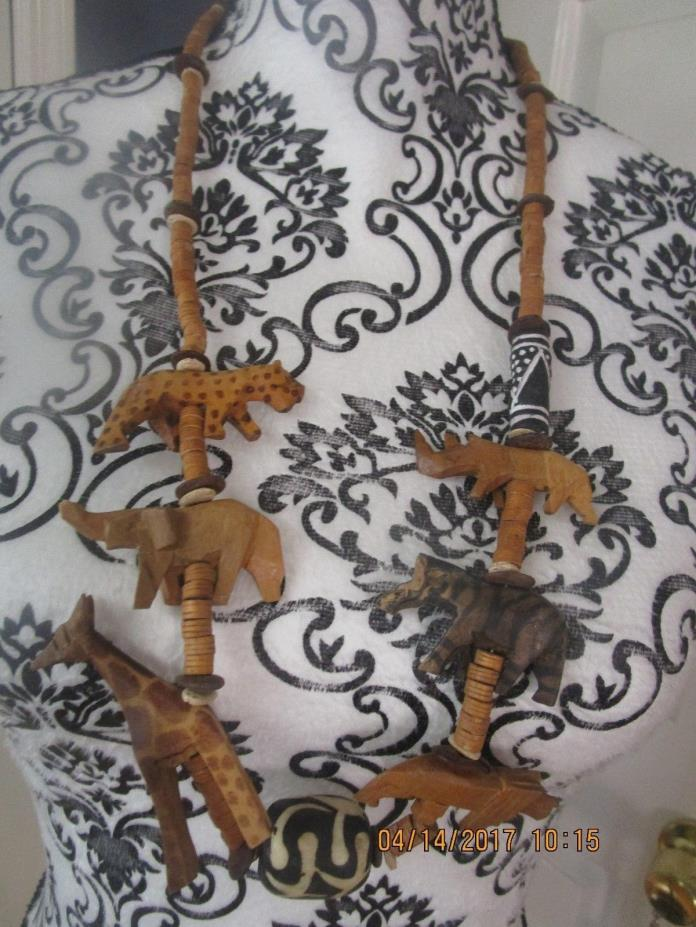 Vintage Tribal Ethnic Wood Bead carved Africa animal Statement Necklace