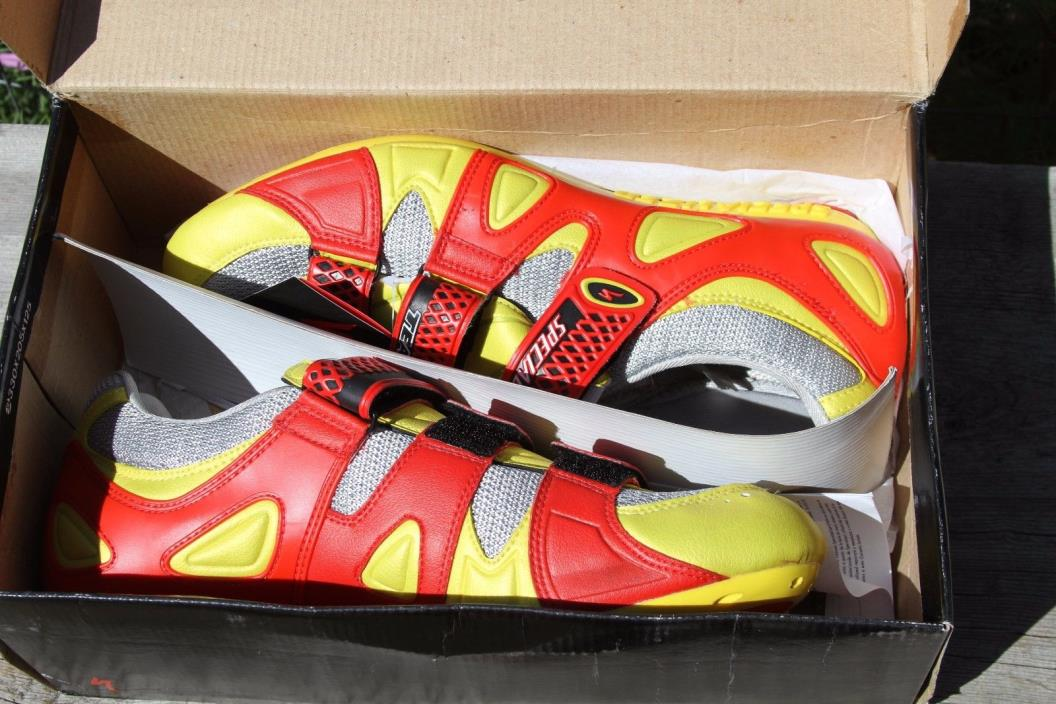 Specialized Team Road cycling shoes NIB NOS size 45 red/yellow
