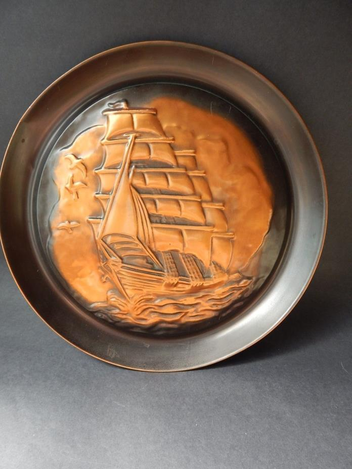 COPPERCRAFT  GUILD PLATE  PLAQUE SAILING SHIP  WALL DECOR BOAT