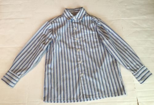 City Streets Dress Shirt Boys Sz S Blue Black Stripe Long Sleeve Button Front
