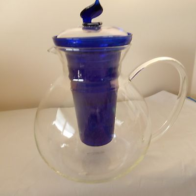 Clear teapot with royal blue infuser
