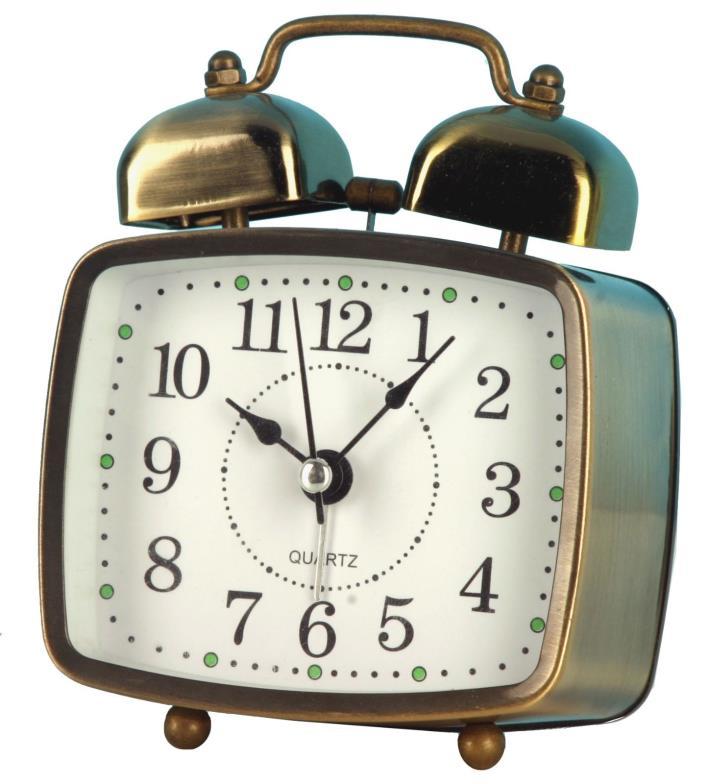 Mini Cute 3.5-inch Metal Rectangle Retro Twin Bell Alarm Clock Silent Desktop