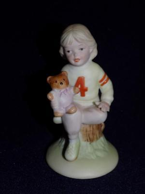 Enesco 1983 GROWING UP GIRL Birthday #4 Sitting-Holding a Bear