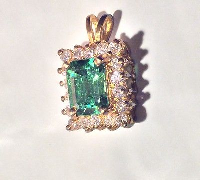 Vintage Large Fashion Emerald  & Diamonds Pendent