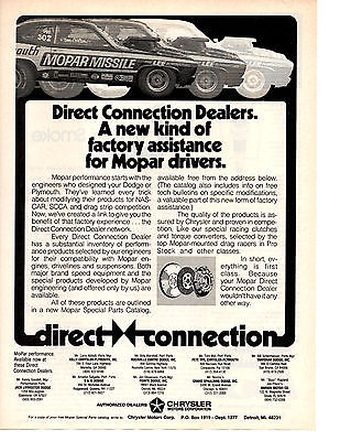 1973 PLYMOUTH DUSTER PRO STOCK DRAG RACING  -  MOPAR MISSLE  ~  GREAT PRINT AD