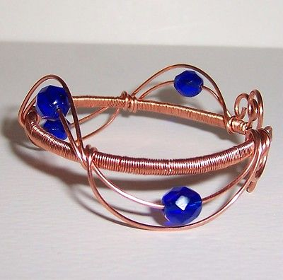 REDUCED!! Handmade Copper Wire Wrapped Cuff Bracelet With Royal Blue Beads