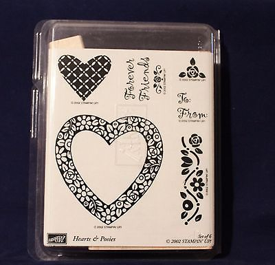 Stampin Up Retired 2002 Hearts and Posies Set of 6 Unmounted Ink Rubber Stamps