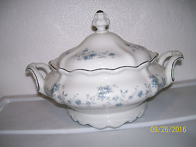 White SOUP TUREEN with blue flowers