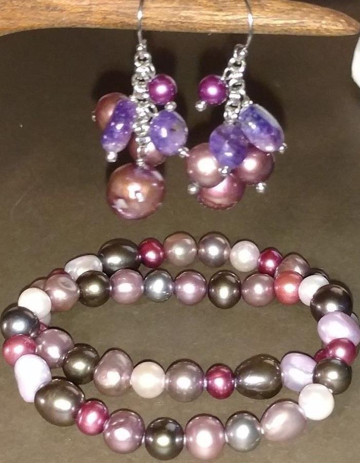 925 Amethyst & Purple Pearl Lot - Earrings & Bracelets