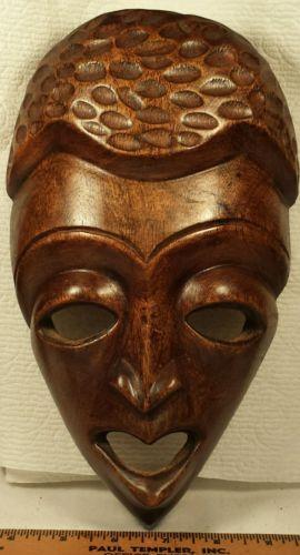 Hand Carved Tribal Wood Mask - Lake Champlain Vintage Travel Souvenir