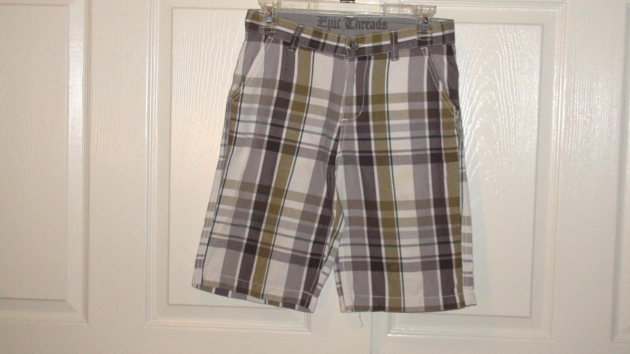 Boys Epic Threads  Plaid Flat Front Shorts Size 12 Multi- Color EUC