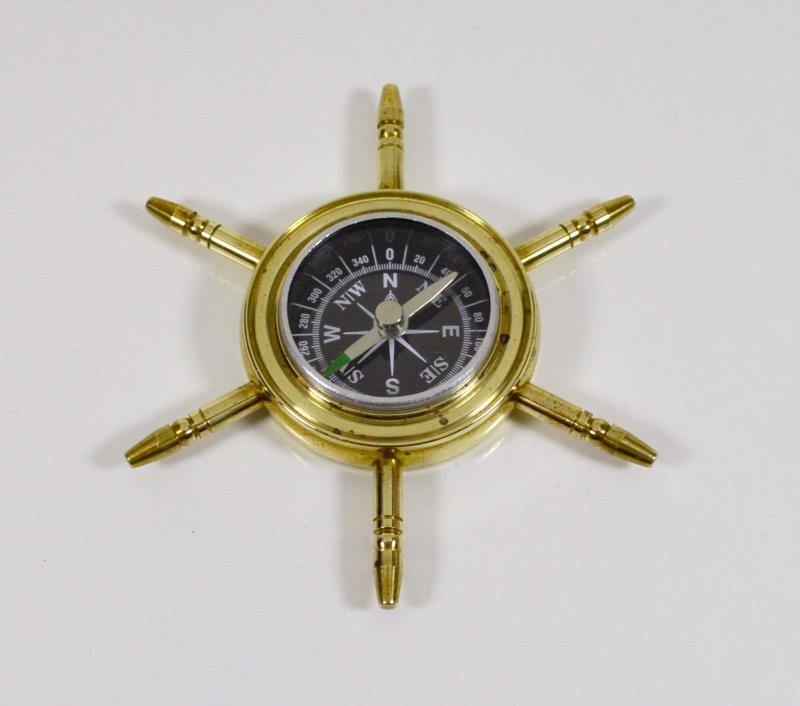 Vintage Brass Captain's Compass, Handheld Pocket Nautical Ship Wheel Collectible