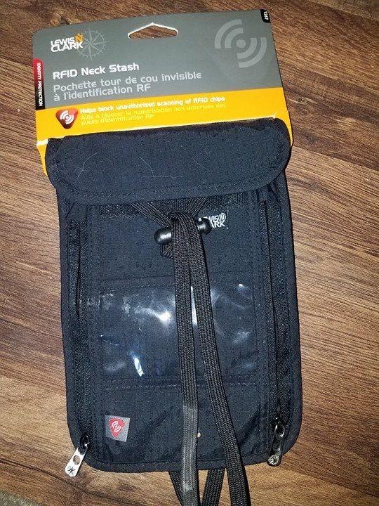 Lewis N. Clark RFID-Blocking Neck Stash Anti-Theft Hidden Wallet Black