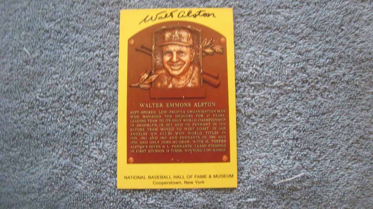 Autographed Walt Alston gold baseball HOF Plaque postcard