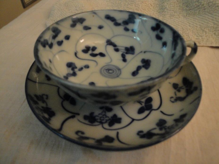 VINTAGE Blue & White Porcelain  CUP & SAUCER FINE  - petite