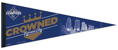 Kansas City Royals CROWNED 2015 World Series Premium Felt Collector's PENNANT