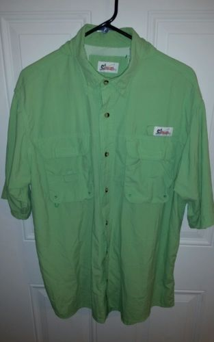 Large Fishing Lime World Wide Sportsman Angler Short Sleeve Button VENT Shirt