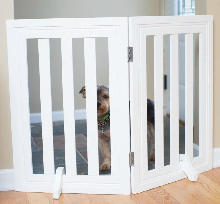 Pet Gate Dog Fence Standing Folding Indoor Safety Barrier Wood Security 2 Panel