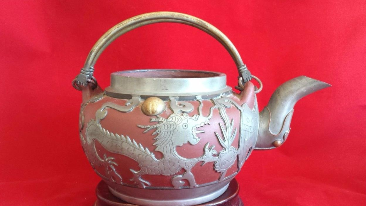 ANTIQUE CHINESE YIXING POTTERY DRAGON TEAPOT