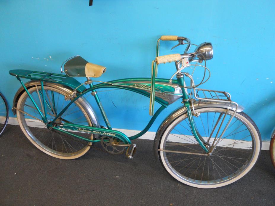 Rare Vintage 1953 3 speed Schwinn Mark II Jaguar green Tank Bicycle