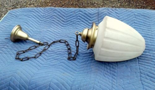 Antique Pendant Ceiling Light Fixture Frosted Globe RR Depot Holmes County OH
