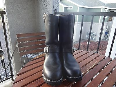Black Leather Wesco Engineer Boots Mens Size 10D 14inch Soft Toe