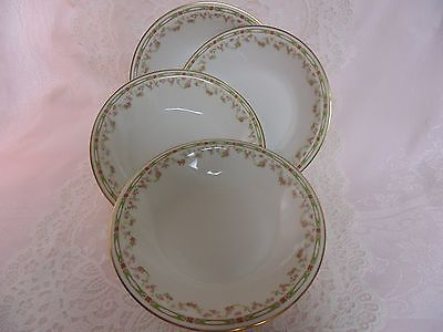 Four Theodore Haviland Limoges Soup Bowls Sch 346 Draping Pink Roses