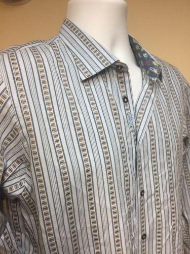Robert Graham YXL (18-20) Long Sleeve Blue Striped