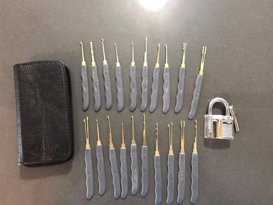 24pcs Key Pick Training Set Clear Practice Padlock Tools Locks Kit Key Guides