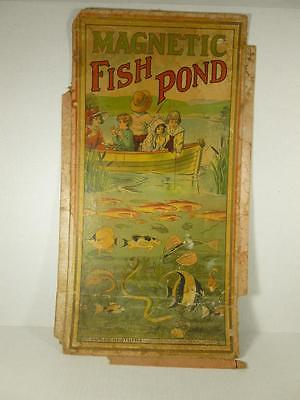 HTF Rare Parker Brothers Antique Magnetic Fishing Pond Game Box early 1900