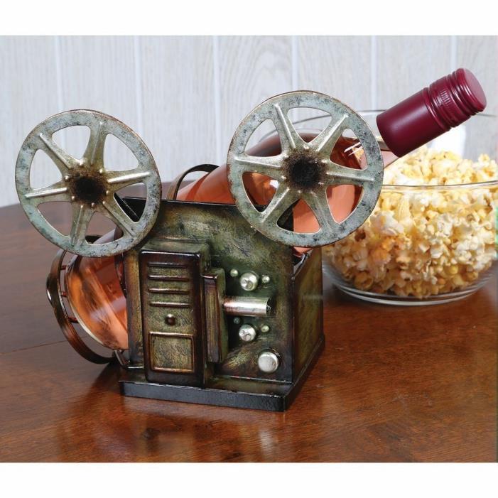 Vintage Film Reel Metal Wine Bottle Holder - Film Movie Buff Wine Lover Gift