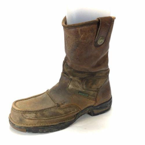 Georgia Boots Mens Moc Toe Brown Leather Size 12M Soft Toe Slip Oil Resistant -2