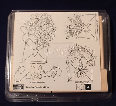 Stampin Up Retired 2008 Send A Celebration Set of 4 Unmounted Ink Rubber Stamps