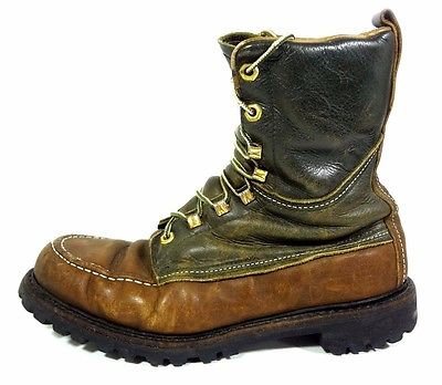 MENS VINTAGE HALF CALF BOOTS MENS 9 M VIBRAM SOLE HIKING BACKPACKING SHOES