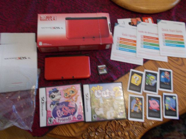 Nintendo3 DS XL Console Red Plus Games