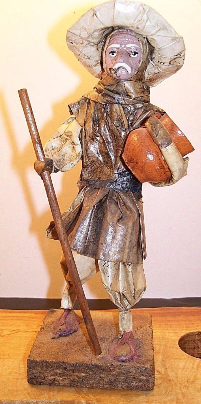 Vintage Mexican Folk Art Paper Man Figurine