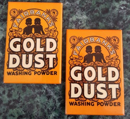 2-Vintage Black American Fairbanks Gold Dust Washing Powder Pocket Mirror 3x2in