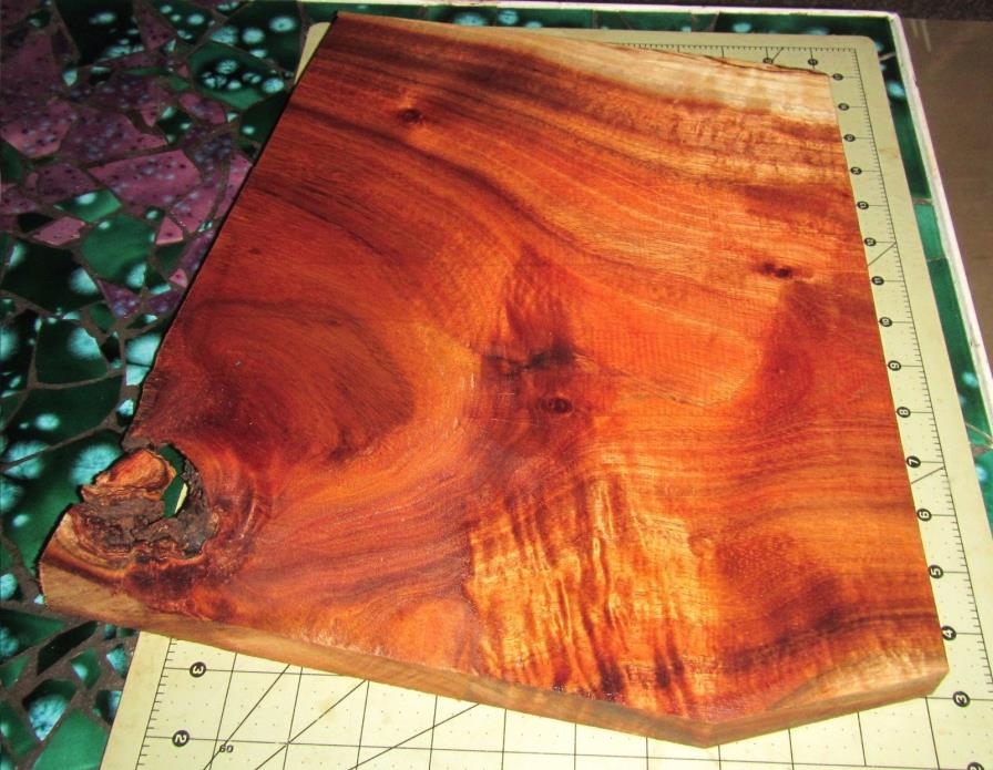 Large Big Island of Hawaii KOA Wood Board w/Curl Unique Shape~ (#012)