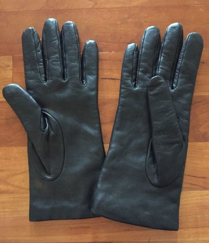 J.Crew Italian leather cashmere lined gloves in black Sz M $128