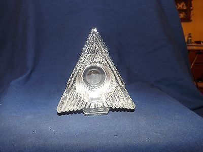 AVON CLEAR GLASS CHRISTMAS TREE VOTIVE CANDLE HOLDER  LOT #766