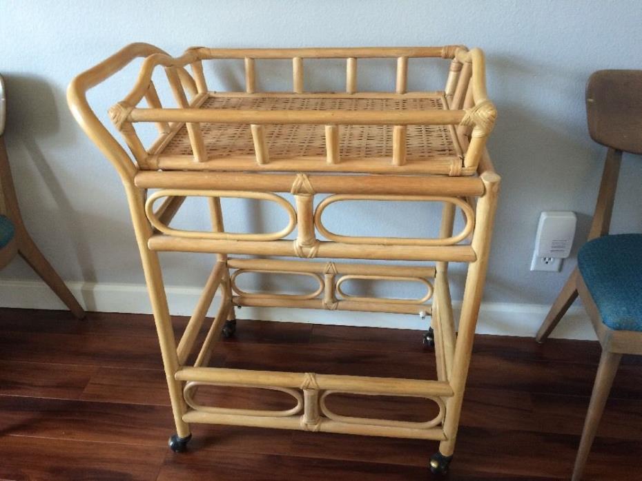 Vintage Bamboo Rattan Rolling Cordial Cart/Bar bar cart