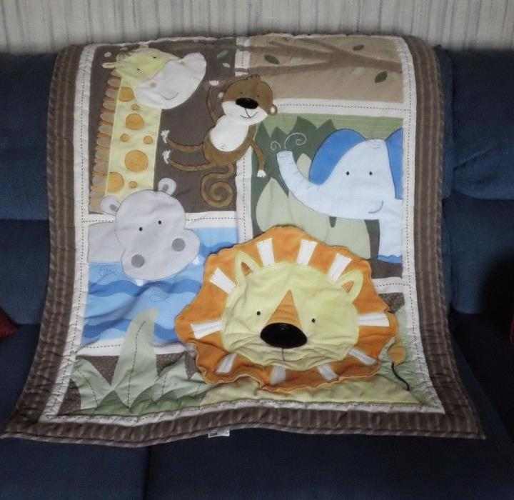 Just Born Baby Blanket Appliqued Jungle Animals Giraffe Monkey Hippo and Lion