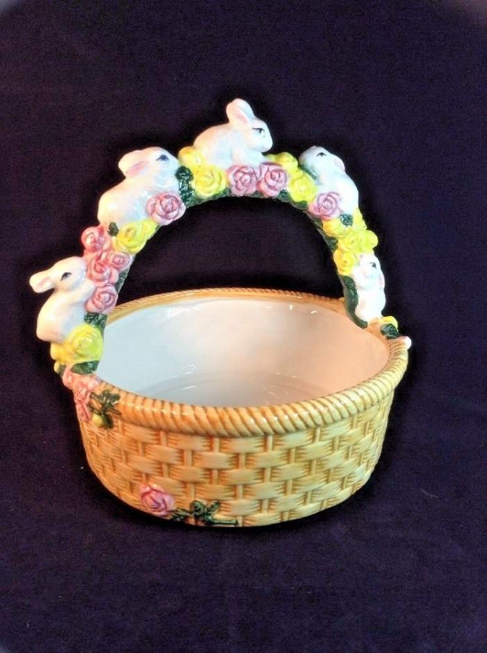 Ceramic Hand-Painted Easter Bunny Basket