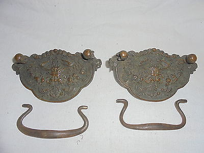 Antique Victorian Northwind heavy brass drawer pulls