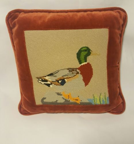 Vintage Needlepoint and velvet Duck Mallard Pillow