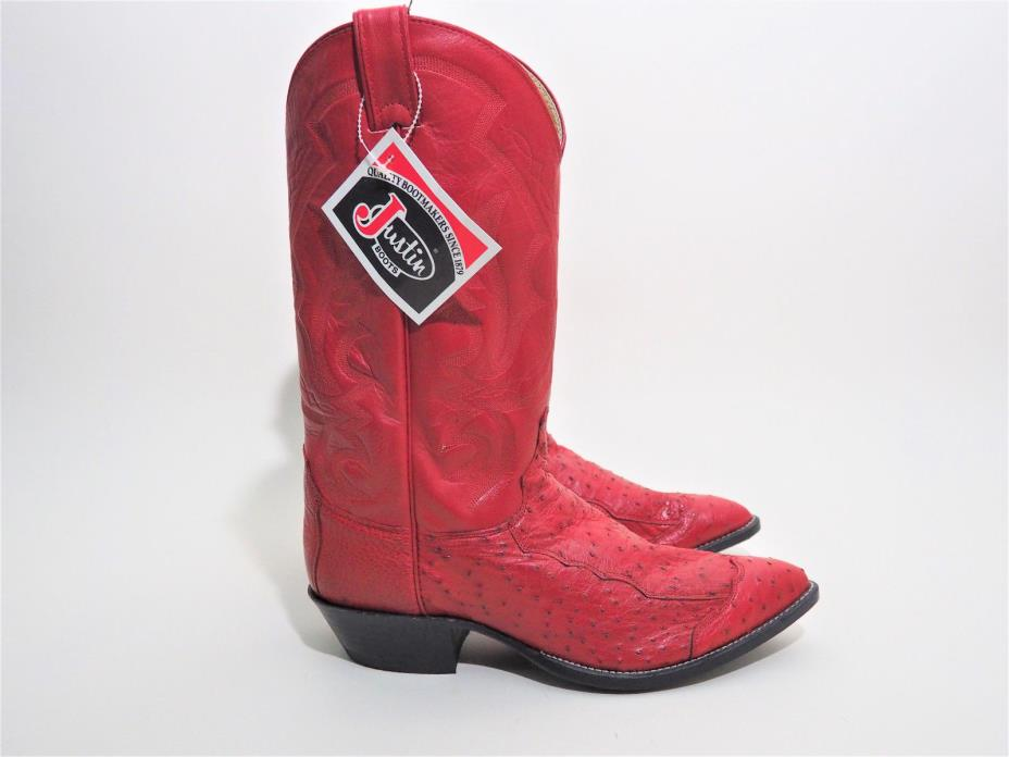 Justin Boots Red Ostrich Cowboy Boots Men's Size 11 EE Wide