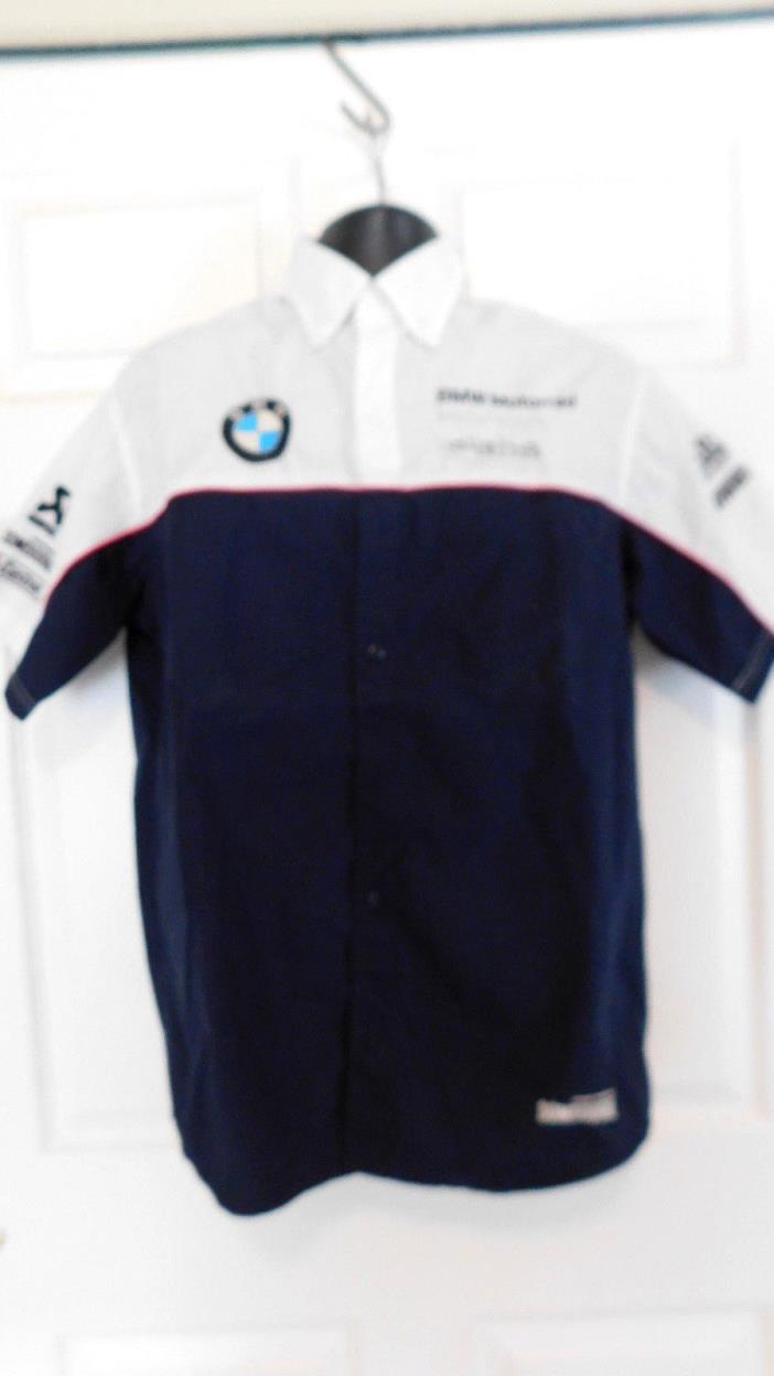 BMW Motorrad Motorsports Alpha Racing  Black White Button Front Shirt Men's L